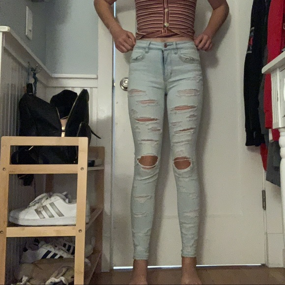 American Eagle Outfitters Denim - American eagle hi-rise jegging light washed ripped